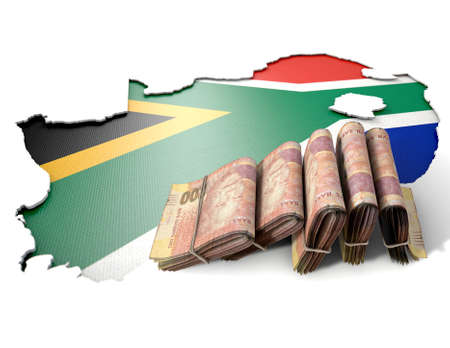 The shape of the country of South Africa in the colours of its national flag recessed into an isolated white surface with a wad of folded south african rand notes resting on it