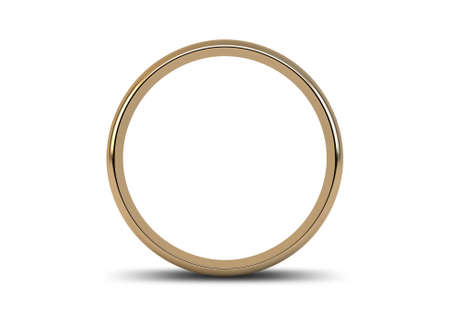A gold wedding ring resting on an isolated white background