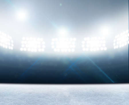 ice rink: A generic ice rink stadium with a frozen surface under illuminated floodlights