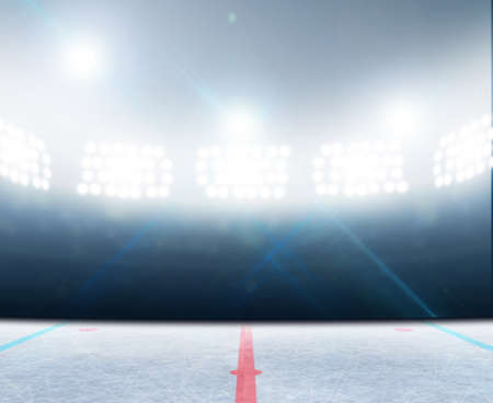 조명 투광 조명 아래 얼어 붙은 표면과 일반 아이스 하키 아이스 링크 경기장