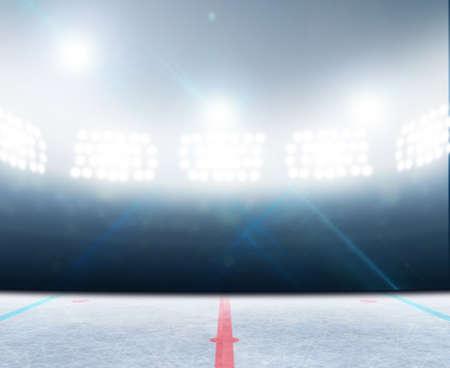 hokej na lodzie: Ogólny hokej lodowisko stadion z zamarzniętej powierzchni pod oświetlonych reflektorami Zdjęcie Seryjne