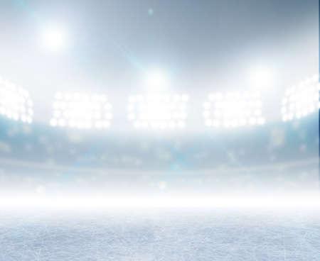 terreno: Uno stadio pista di pattinaggio generico con una superficie ghiacciata in notturna illuminata