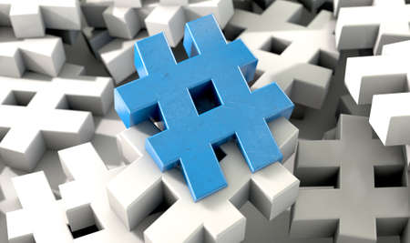 shiny icon: A concept image showing a scattered collection of white hashtags and a single blue one on an isolated studio background