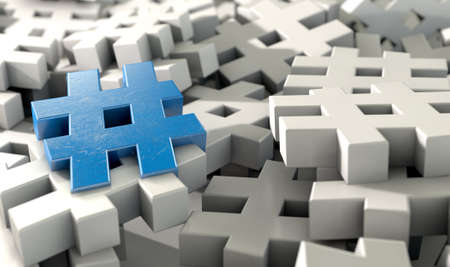 tweet: A concept image showing a scattered collection of white hashtags and a single blue one on an isolated studio background