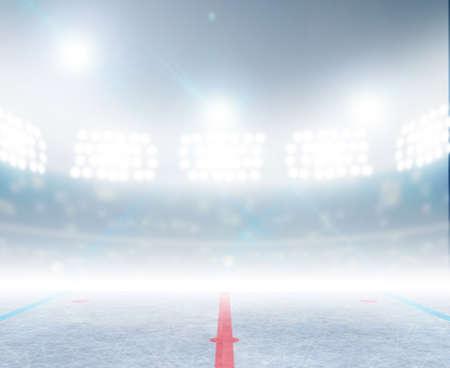 A generic ice hockey ice rink stadium with a frozen surface under illuminated floodlights
