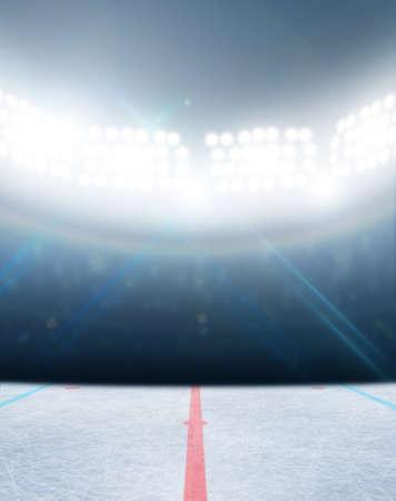 Eine generische Eishockeyeisbahn Stadion mit einer gefrorenen Oberfläche unter Flutlicht beleuchtet