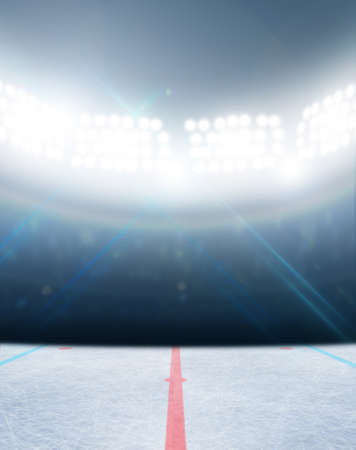 hockey sobre hielo: Un estadio de hockey sobre hielo pista de hielo gen�rico con una superficie congelada iluminados con luz artificial