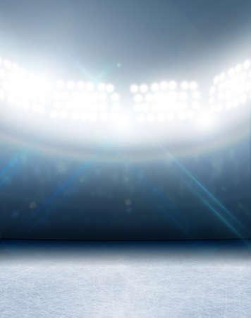 Eine generische Eisbahn Stadion mit einer gefrorenen Oberfläche unter Flutlicht beleuchtet Standard-Bild - 41654838