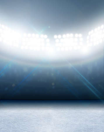 Eine generische Eisbahn Stadion mit einer gefrorenen Oberfläche unter Flutlicht beleuchtet