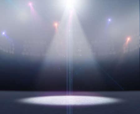 Eine generische Eisbahn Stadion mit einer gefrorenen Oberfläche unter einem beleuchteten Flutlicht