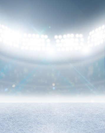 floodlit: A generic ice rink stadium with a frozen surface under illuminated floodlights