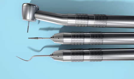 dental fear: A set of steel dentists tools on an isolated studio background