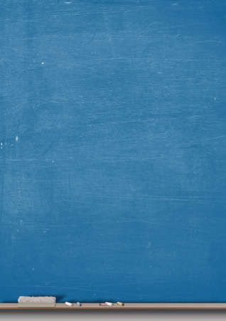 chalkboard: A rectangular blue chalkboard with a wooden ledge chalk and a duster
