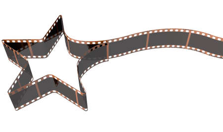 hollywood star: A strip of blank old vintage camera film curled into the shape of a shooting star on an isolaed studio background