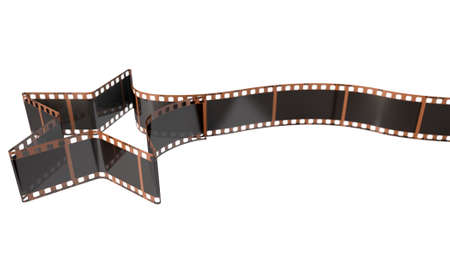 35mm film motion picture camera: A strip of blank old vintage camera film curled into the shape of a shooting star on an isolaed studio background