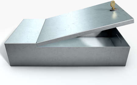 stainless steal: An open metal bank safety deposit box on an isolated white studio background Stock Photo