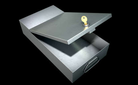 An open metal bank safety deposit box on an isolated studio background