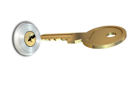 deter: A dead bolt lock shield with a key approaching the slot on an isolated white studio background