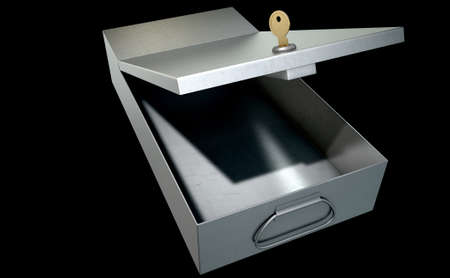empty keyhole: An open metal bank safety deposit box on an isolated studio background