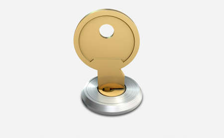 deter: A dead bolt lock shield with a key inserted into the slot on an isolated white studio background Stock Photo