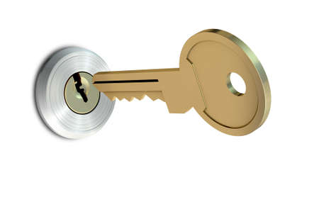 deadbolt: A dead bolt lock shield with a key approaching the slot on an isolated white studio background