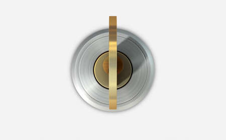 inserted: A dead bolt lock shield with a key inserted into the slot on an isolated white studio background Stock Photo