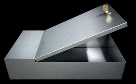 depository: An open metal bank safety deposit box on an isolated studio background