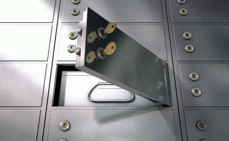 deposit: A closeup of a wall of closed metal safety deposit boxes with one open revealing its contents inside