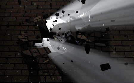 crashing: A dark side of a wall being broken and shattered by a wrecking ball with light emanating through