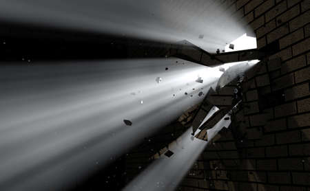 emanating: A dark side of a wall being broken and shattered by a wrecking ball with light emanating through