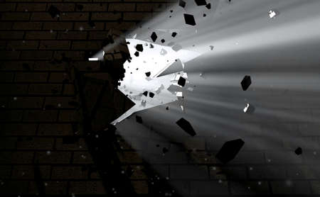 emanating: A dark side of a wall being broken and shattered with light emanating through