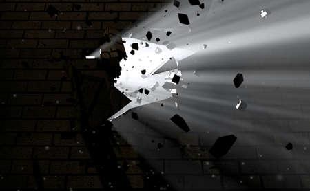 pared rota: Un lado oscuro de un muro que está roto y destrozado con la luz que emana a través Foto de archivo