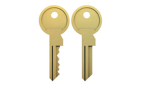 deter: A cut brass key and a blank version on an isolated white studio background Stock Photo