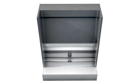 urinal: A single stainless steel trough style urinal on an isolated white studio background
