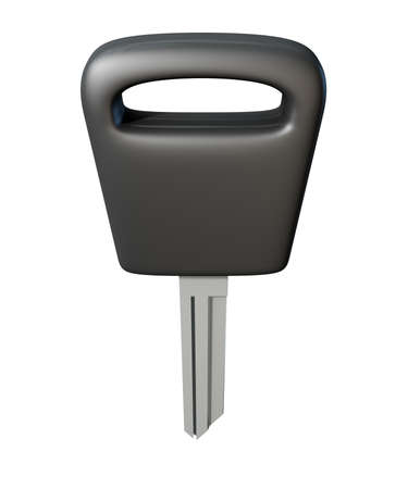 unbranded: A regular unbranded and uncut car key blank on an isolated white studio background