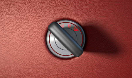 keyholder: A modern chrome and blue light car ignition with a simple key inserted on a red leather surface