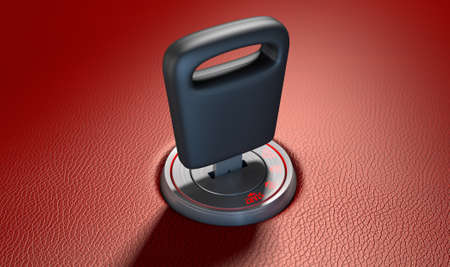 inserted: A modern chrome and blue light car ignition with a simple key inserted on a red leather surface