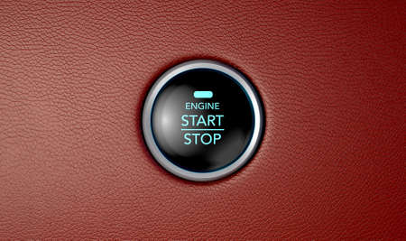 A closeup of a modern car start and stop button with blue lights on a red leather textured surface