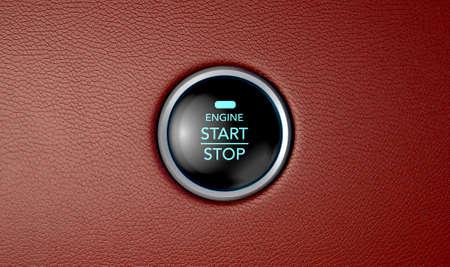 Eine Nahaufnahme von einem modernen Auto starten und Schaltfläche mit blauen Lichtern auf rotem Leder strukturierten Oberfläche stoppen Standard-Bild - 43335636