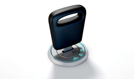 inserted: A modern chrome and blue light car ignition with a simple key inserted on an isolated white studio background Stock Photo