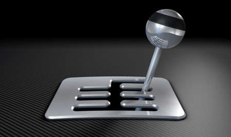 fibre: A steel chrome and carbon fibre gear stick shift with an exposed plate on a carbon fibre surface