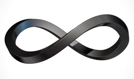 Een 3D-weergave van een oneindig symbool dat bestaat uit vierkante buizen koolstofvezel op een geïsoleerde witte achtergrond studio