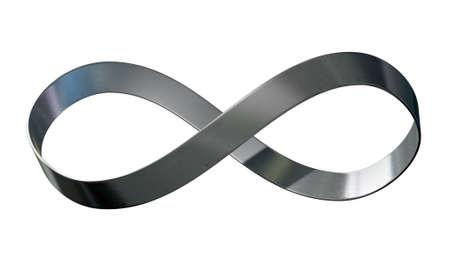 Een 3D-weergave van een oneindig symbool gemaakt van een lint van glanzend staal op een geïsoleerde witte achtergrond studio Stockfoto