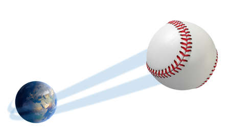 swish: A sporting concept showing a regular baseball ball swooshing out and above the earth onto an isolated white studio background