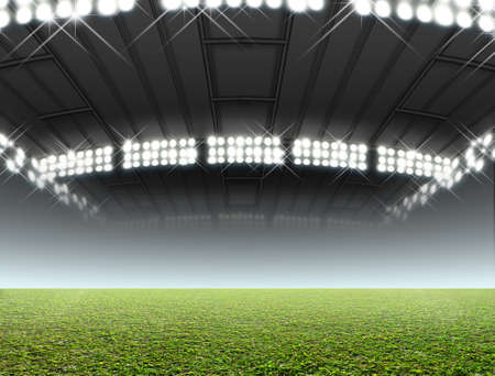 unmarked: A generic indoor stadium with an unmarked green grass pitch at night under illuminated floodlights Stock Photo