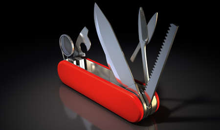 help section: A close up view of a multipurpose penknife with a blade and saw on an isolated studio background