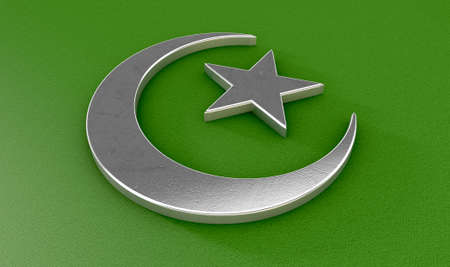 faith: A metal islamic crescent moon and star on a green textured background