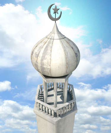 minarets: A mosque minaret with a cupola dome and an islamic crescent moon and star on a blue sky background
