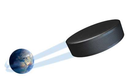 swish: A sporting concept showing a regular ice hockey puck swooshing out and above the earth onto an isolated white studio background