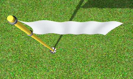 sporting equipment: A closeup of regular golf flag and hole on an isolated white studio background